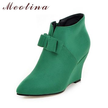 Meotina Women Boots Wedge Heels Ankle Boots Autumn Autumn Boots Ladies Shoes Zip Wedges Pink Green Big Size 10 42 43 Discount