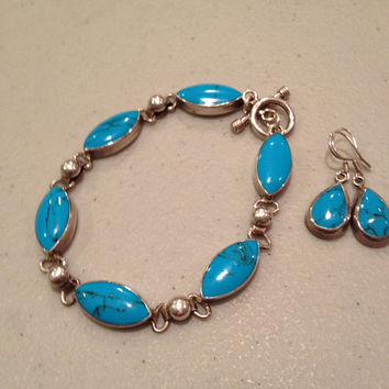 Turquoise Sterling Bracelet Earrings Set 7 Silver Blue Diamond