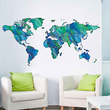 cik1819 Full Color Wall decal Watercolor World map Living room bedroom cabinet