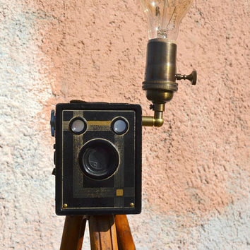 Kodak Tripod, Antique Tripod Floor Lamp, Eastman Kodak Bullet Wood Tripod, Agfa B2 Shurt Shot Camera, Camera Tripod Floor Lamp, Art Deco
