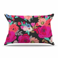 "Crystal Walen ""Sweet Pea"" - Black Floral Pillow Case"