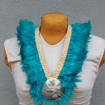 Feather neck hei, lei, necklace, Tahitian dance costume