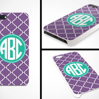 iPhone 5 Cell Phone Case Moroccan Geometric Circle Monogram Initials Apple Personalized Name Protective White Plastic Hard Cover VM-1049