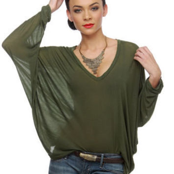 Brandy Melville Anita Top - Green Top - Olive Green Top - $45.00