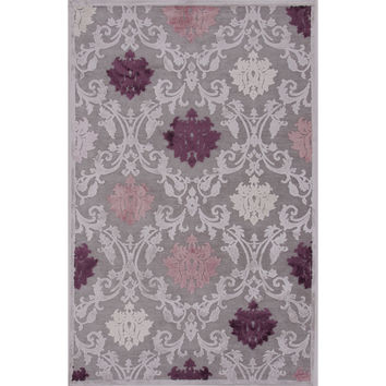 Jaipur Rugs Transitional Floral Pattern Gray/Purple Rayon and Chenille Area Rug FB26 (Rectangle)
