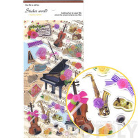 Pretty Musical Instruments Piano Harp Trumpet Violin and Flowers Shaped Stickers | Cute Music Themed Scrapbook Decorating Supplies