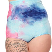 Blue/Pink Tie Dye Print Blacklight Reactive High Waisted Shorts