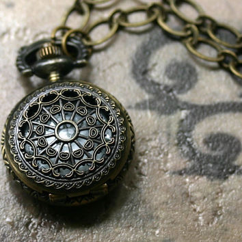 Steampunk Pocket Watch Necklace Mini Maritime by robinhoodcouture