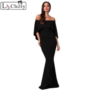 La Chilly Women Clothes 2018 Sexy Summer Tight Dress Burgundy Off Shoulder Poncho Gown Mermaid Party Dress Long Dresses LC610235