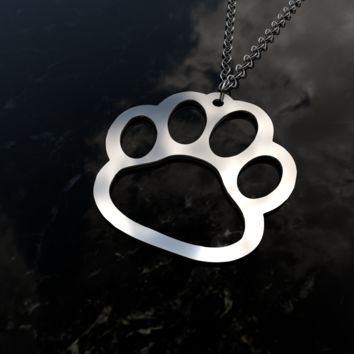 Paw print, animal, dog, cat sterling silver pendant necklace