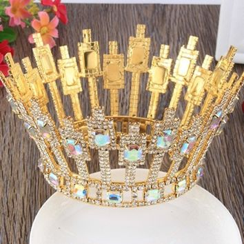 High-end Bridal Wedding Crowns Tiaras Gold Silver Crystal Cosplay Crown Hair Accessories
