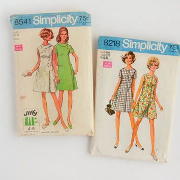 1960's Vintage Dress Sewing Patterns - Simplicity 8218 & 8541 - Size 42 - Bust 46 - Jiffy - Easy