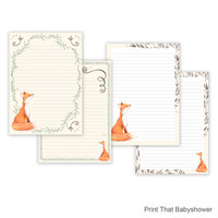 Fox Printable Writing Paper - Stationary Paper - Letter Writing Set - Fox Note Paper - Printable Journal Pages - Fox Scrapbooking Paper