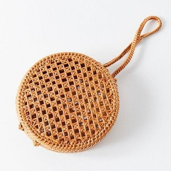 Straw Mini Circle Wristlet | Urban Outfitters