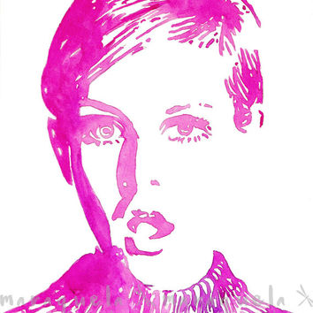 TWIGGY Original watercolor illustration painting .Surprise expression face, London, art print wall 1960's fashion icon, Celebrity Portrait