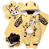 2018 Winter Animal Padded Cotton Rompers red/yellow/beige newborn baby boy clothes baby girl clothing for newborns bebes outfits