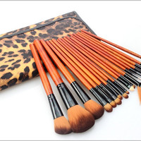 Hot Brand New Cosmetic Brushes Makeup Brush 18pcs/Kit Leopard Grain Bag Synthetic Hair Good Quality