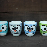Whimsy Owl Ceramic Mug  Handpainted in Shades of Gray by InAGlaze
