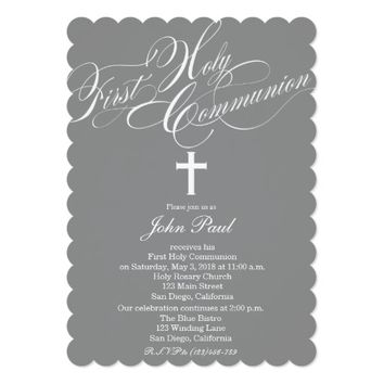 Modern Elegant Cross Communion Invitation for Boys