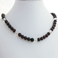 Garnet and Rock Crystal Necklace, January Birthstone, April Birthstone, Beaded Statement Necklace