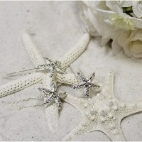 starfish hair pins wedding | rhinestone starfish bobby pins | beach wedding hair accessories | rhinestone hair comb
