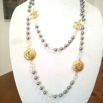 """Designer Inspired 60"""" Hollywood Glam Crystal, Pearl Chain Necklace"""