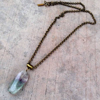 "Fluorite ""cleansing"" pendant chain necklace"