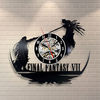Super Cool CD Vinyl Record Wall Clock Final Fantasy VII Theme Art Clock Home Decor Wanduhr Relogio Parede Room Design Klok