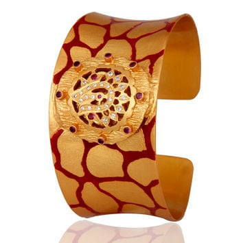 18K Yellow Gold Over Brass Cubic Zirconia Cuff Bracelet With Red Enamel Work