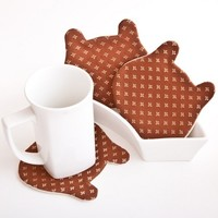 Fabric Coasters for cups. Kitchen decor. Bear set of 4, brown