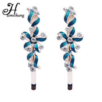 Haimeikang Fashion 1 Pair Colorful Drop Oil Windmill Shaped Hairpin Barrettes for Women Rhinestone Flower Hair Clip Headwear
