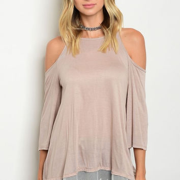 Fashion Women Taupe Cold Shoulder Tunic Blouse Top Lace Casual Relaxed Stretch