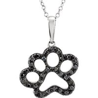 "Sterling Silver 1-3 CTW Black Diamond Animal Paw Print 18"" Necklace"