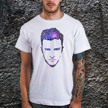 Justin Timberlake Face Typography Galaxy Design T-Shirt for Men (Various Color Available)