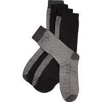River Island MensGrey moustache icon socks pack