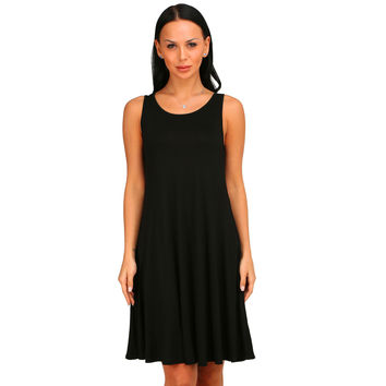 Black  Sleeveless Casual Swing Dress