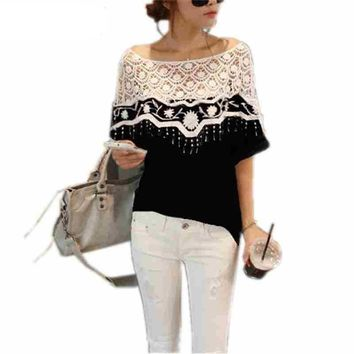 Plus Size S-5XL New Cotton Shirt For Women Crochet Cape Lace Collar Batwing Sleeve Blouse Hollow Out Tops Blusas Femininas