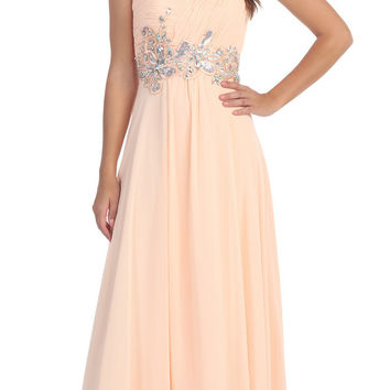 Ruched Bodice Empire Waist Long Peach Formal Gown