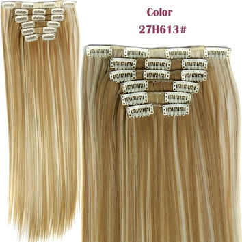 Hairpiece 23inch 140g Straight 16 Clips in False Hair Styling Synthetic Clip In Hair Extensions 6pcs/set Heat Resistant Hair Pad = 5658489921