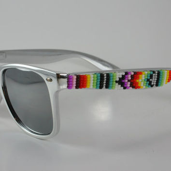 Beaded Sunglasses Wayfarer Silver Tribal Royal