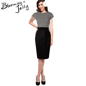 Blooming Jelly Vintage 50s Dresses Black And White Stripe Print Patchwork Women Dress Office Retro High Waist Pencil Work Dress