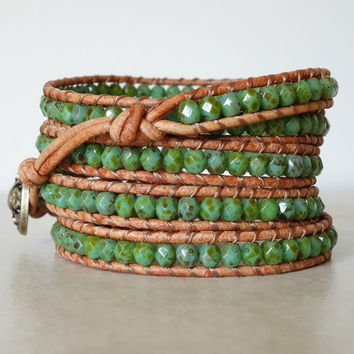Boho turquoise beaded wrap/ Bohemian 5 wrap leather bracelet/Turquoise Czech glass yoga ladder wrapped bracelet