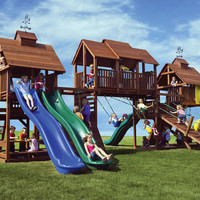 Kid's Creations Adventure Mountain Redwood Swing Set