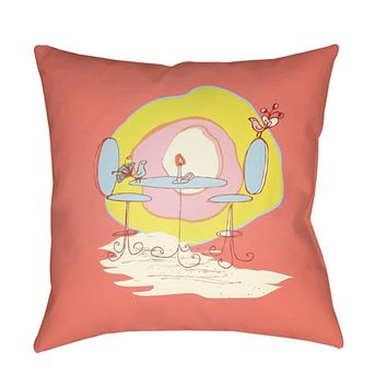 Doodle Pillow Cover - Coral, Pale Pink, Pear, Bright Yellow, Saffron - DO022