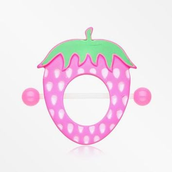 A Pair of Strawberry Delight Bio Flexible Nipple Shield Ring