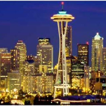 Seattle Skyline Space Needle at Night Poster 11x17