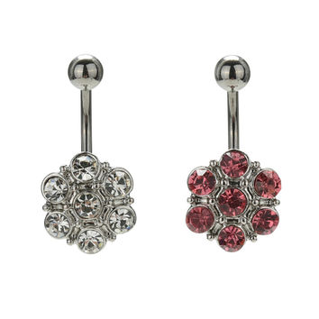 Crystal Flower Surgical Steel Barbell Piercing Belly Button Navel Ring Bar Body Piercing SM6