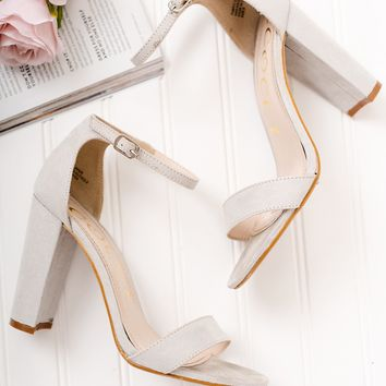 Night With The Girls Faux Suede Heels (Light Grey)