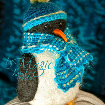 Felted penguin, felt bird, wool toy, needle felted animal, knitted hat, crochet scarf