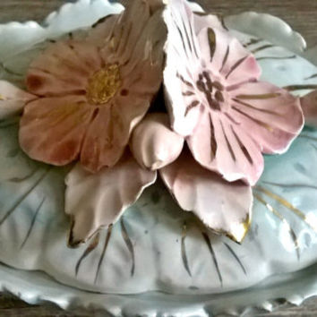 Vintage Italian Porcelain Covered Dish with Sculpted Flowers, Shabby Blue and Pink Porcelain, Marked on Bottom